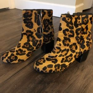 Urban Outfitters leopard calf hair booties
